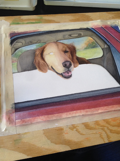 """A Work in Progress photo in the middle of painting """"Bailey"""""""