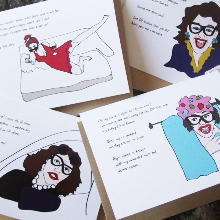 Set of custom illustrated greeting cards for my friend's alter ego, Estha from Queens