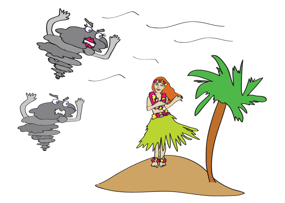 Hurricanes Iselle and Julio are coming to eat all the hula dancers in Hawaii. Girls, hold on tight to your grass skirts!