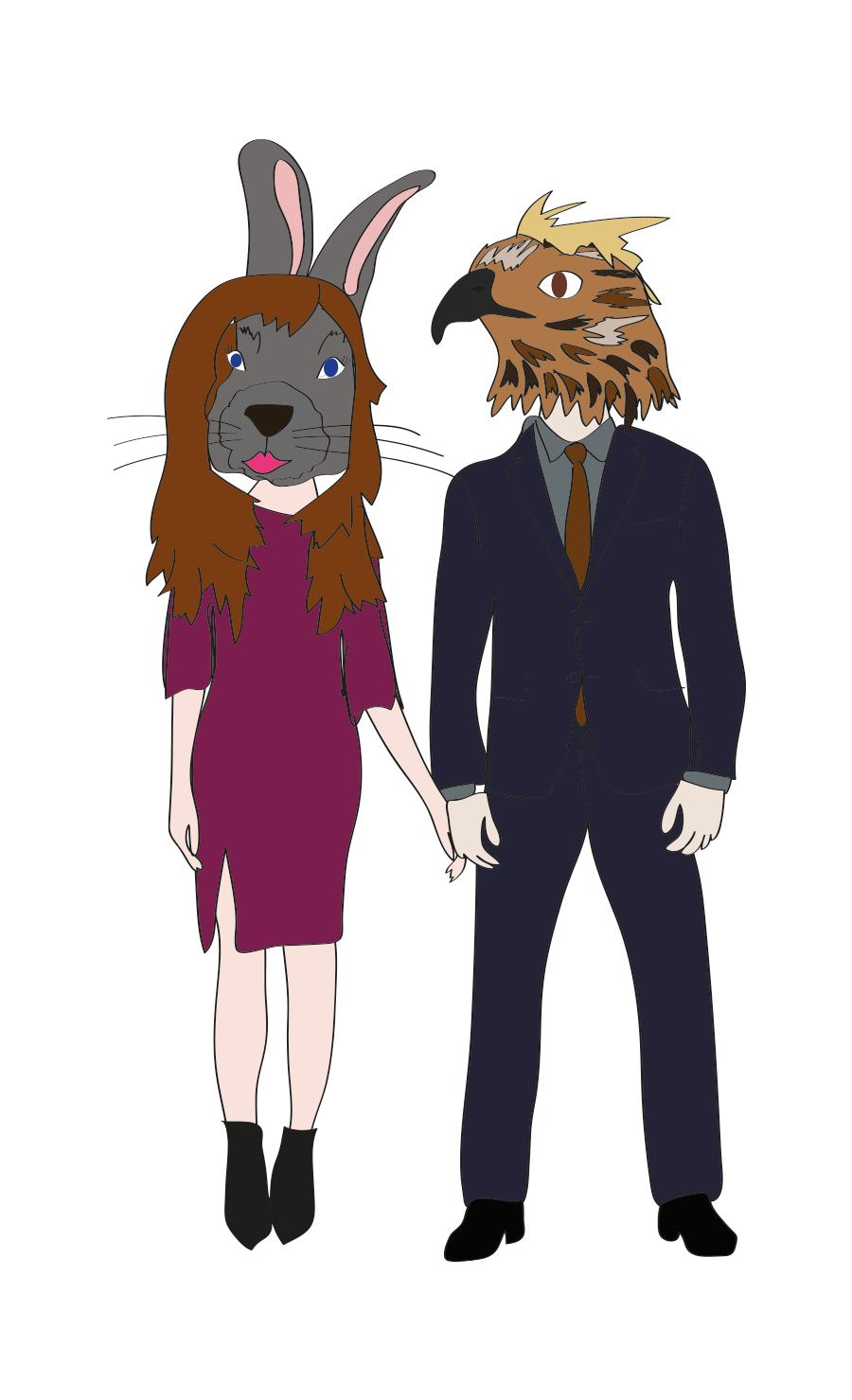 Interspecies couple: Hot Bunny + Sexy Hawk