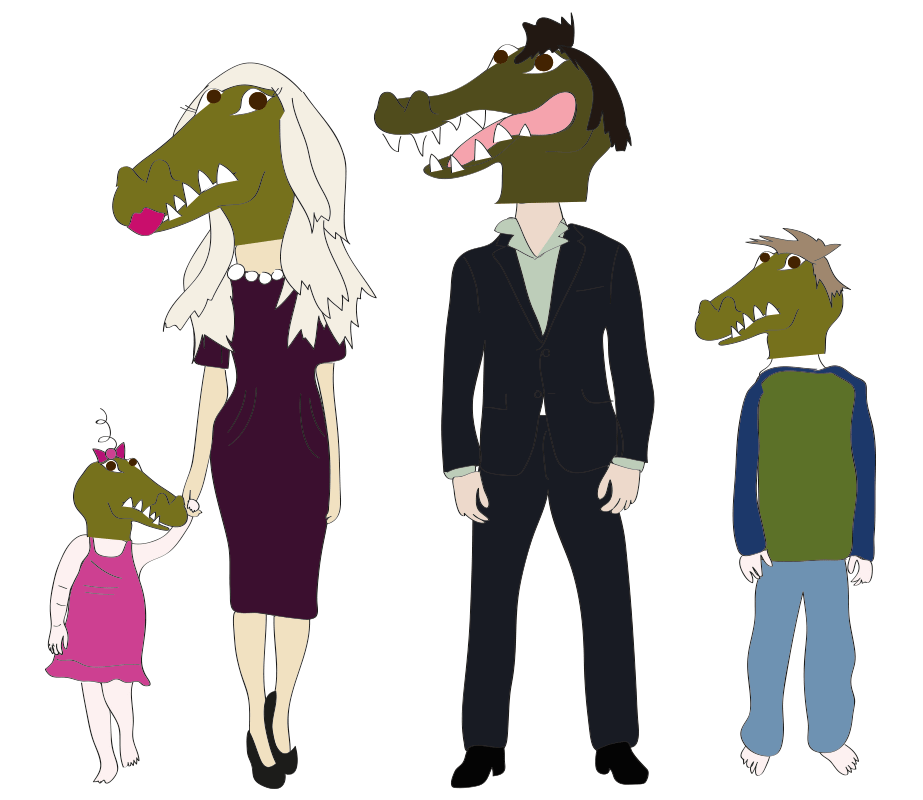 Meet The Gator Family! Al and his lovely wife, Della and kids Prop and Vesti