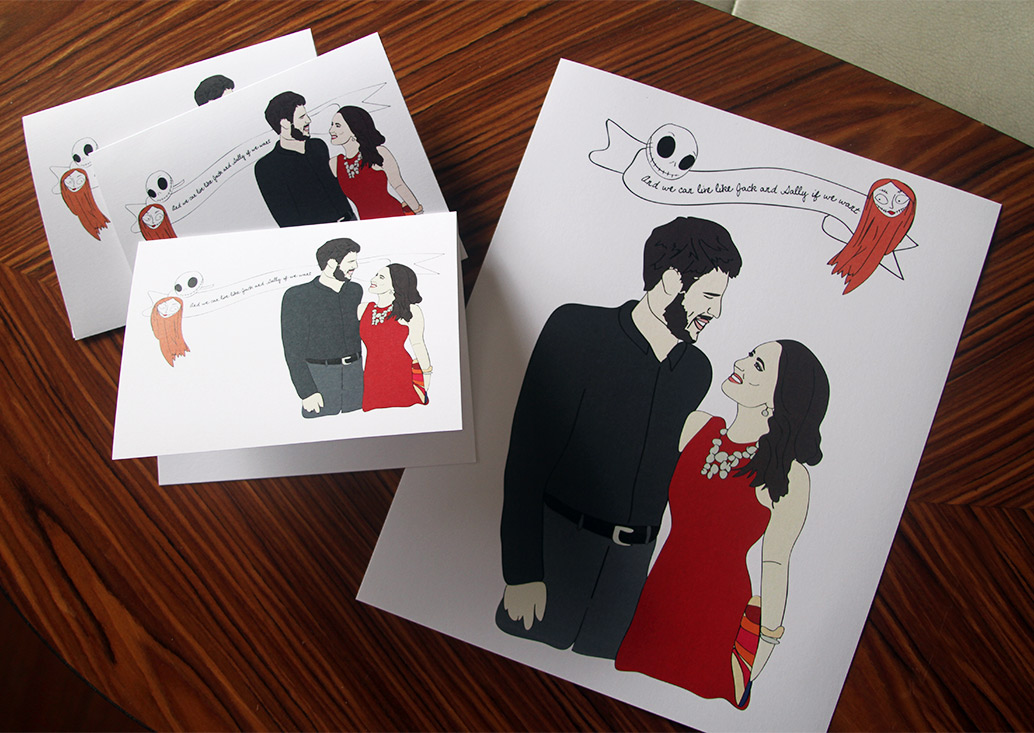 Custom illustrated print + set of cards for wedding gift