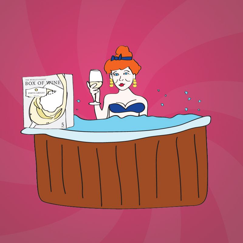 Former beauty queen, Starla Jackson likes to drink a fine box of wine while taking a soak