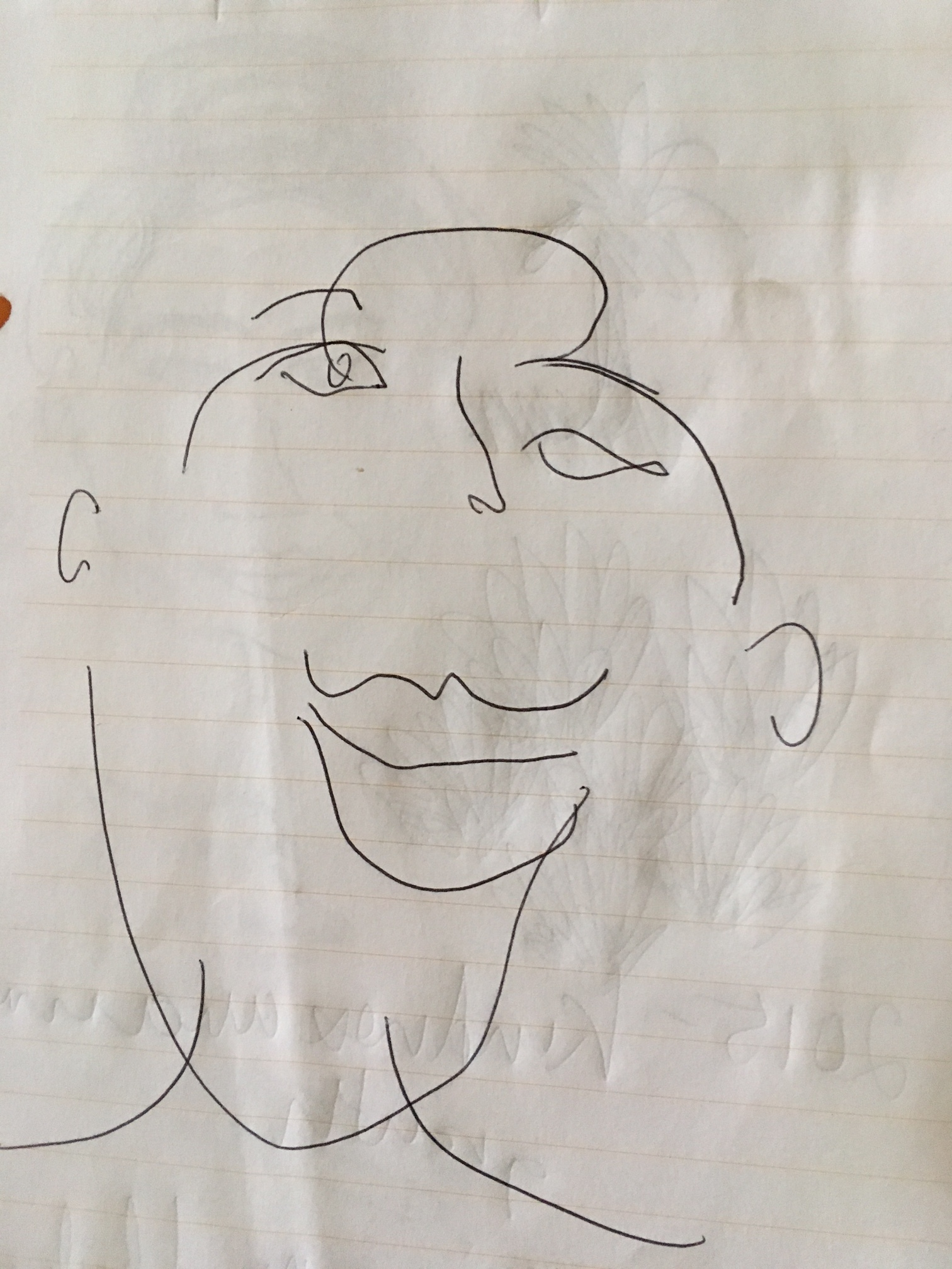 "Michelle's ""blind"" drawing of yours truly"