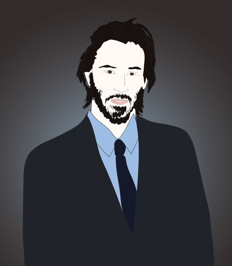 Keanu Reeves illustration by Drawn for You