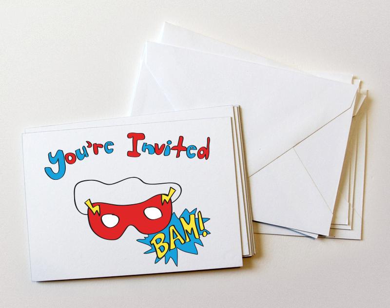 Custom illustration superhero invitations
