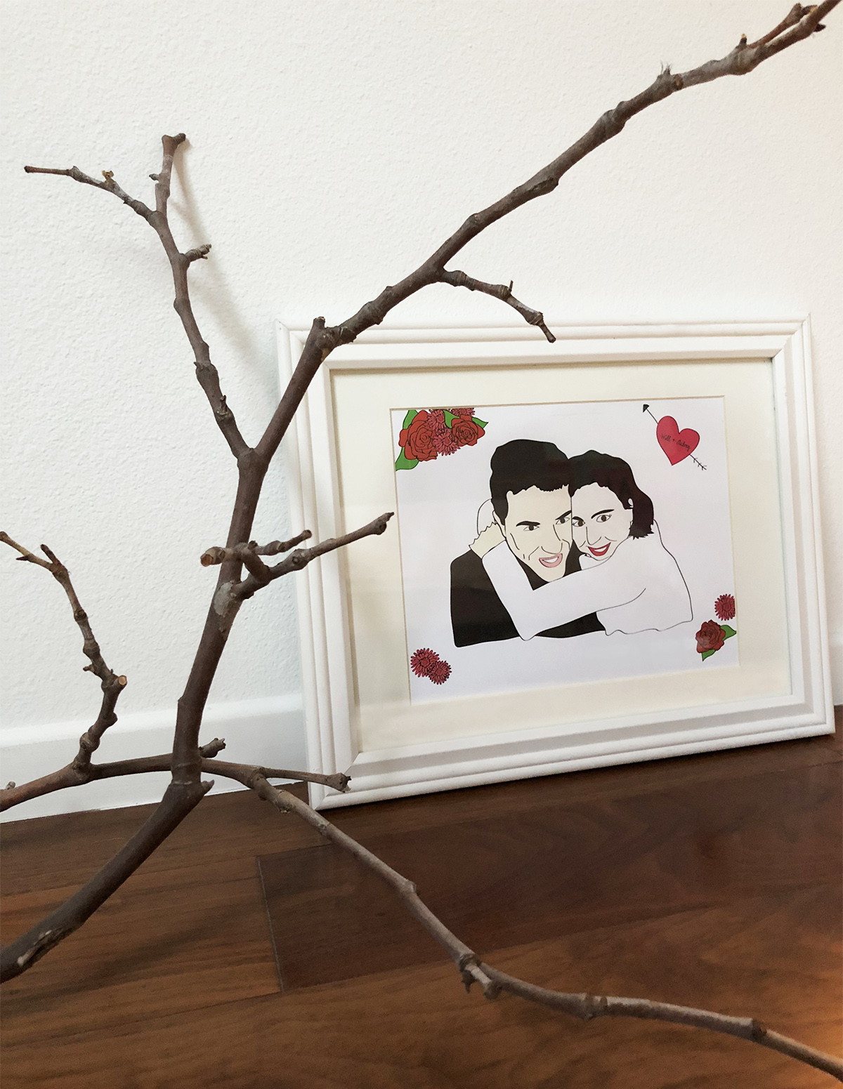 Unique wedding gift, custom illustration