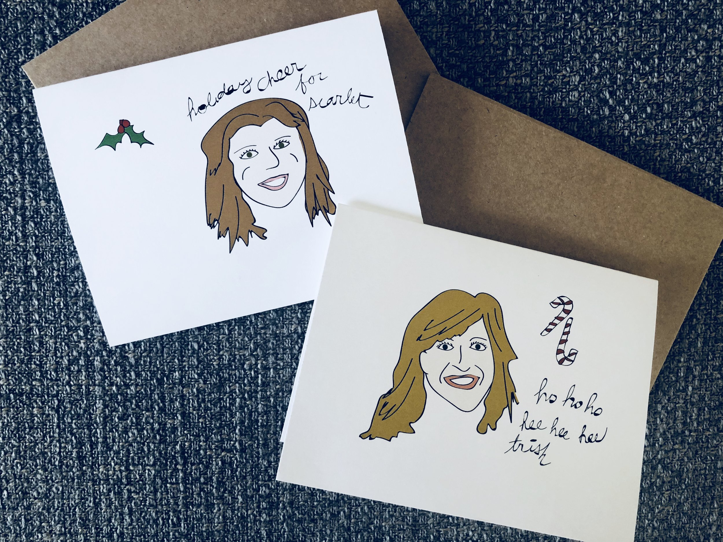 Custom illustrated holiday cards, Drawn for You