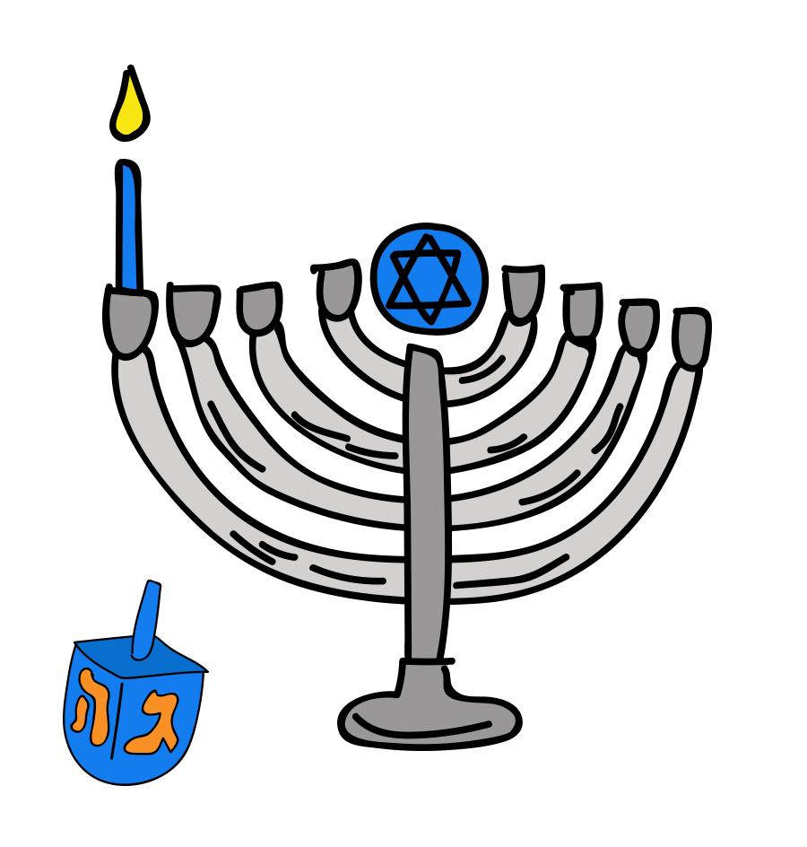 Happy Hanukkah, custom illustration