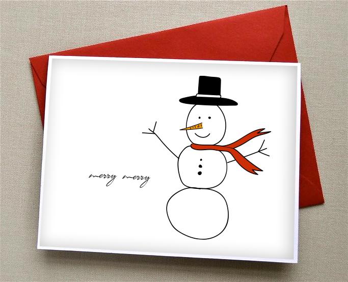Christmas cards, illustration snowman