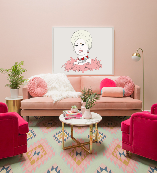 Zsa Zsa Gabor illustration, in pink