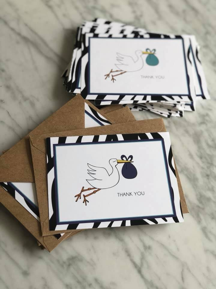 Baby Shower Thank you Cards for Victoria Gomelsky