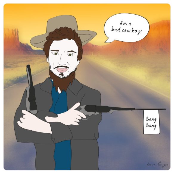 Stay out of his way, he's a scary and dangerous outlaw... he's Memet, the bad cowboy.  @sternshow   @memetwalker   #badcowboy   #RedDeadRedemption2   #bangbang   #illustration