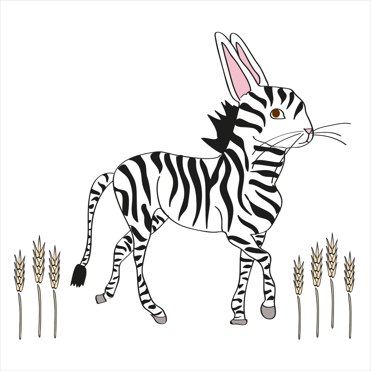 Her stripes will make you dizzy and she loves to multiply. She is ZEBRABUNNY
