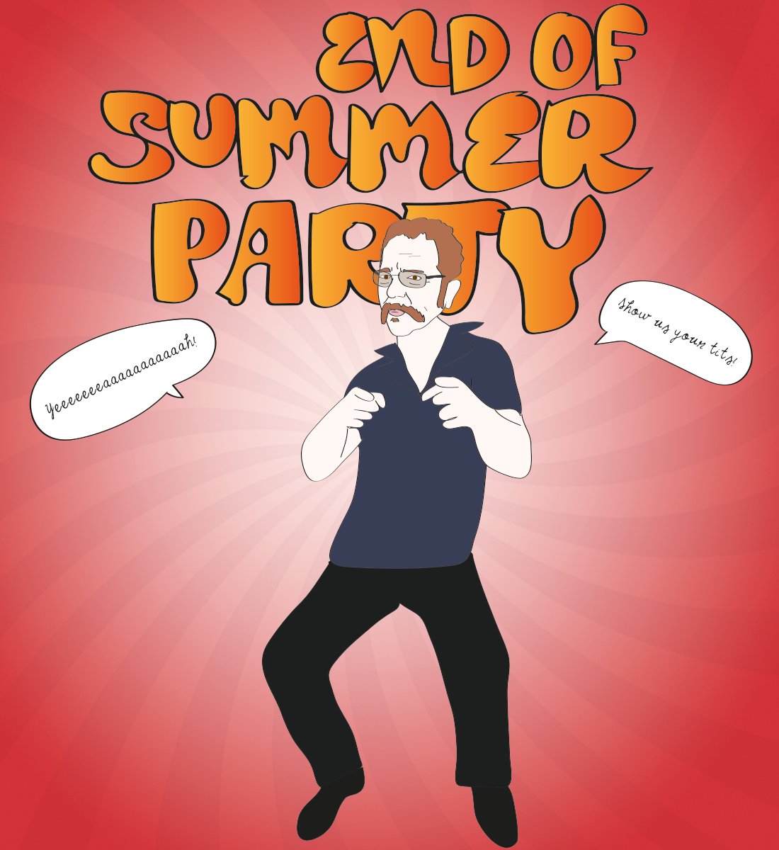 Ronnie Mund end of summer party illustration, Drawn for You