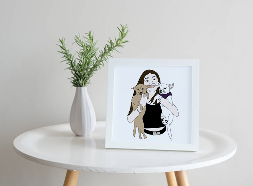 Illustration of a girl holding dogs, framed