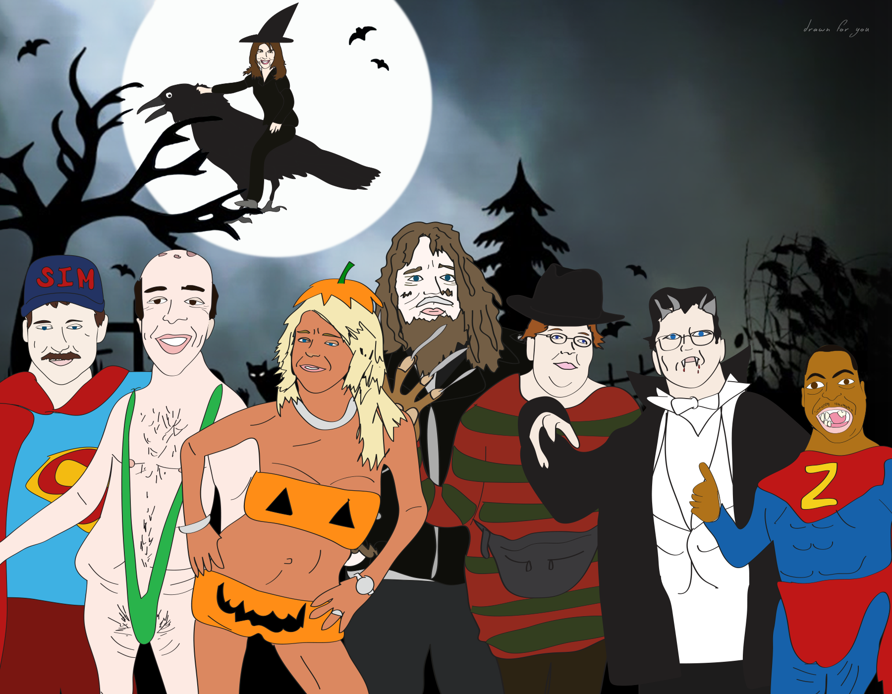 TOP: Mariann from Brooklyn   L to R: Speech Impediment Man, Bobo, TanMom, Bigfoot, Wendy the Slow Adult, Gary the Conqueror, Beetlejuice