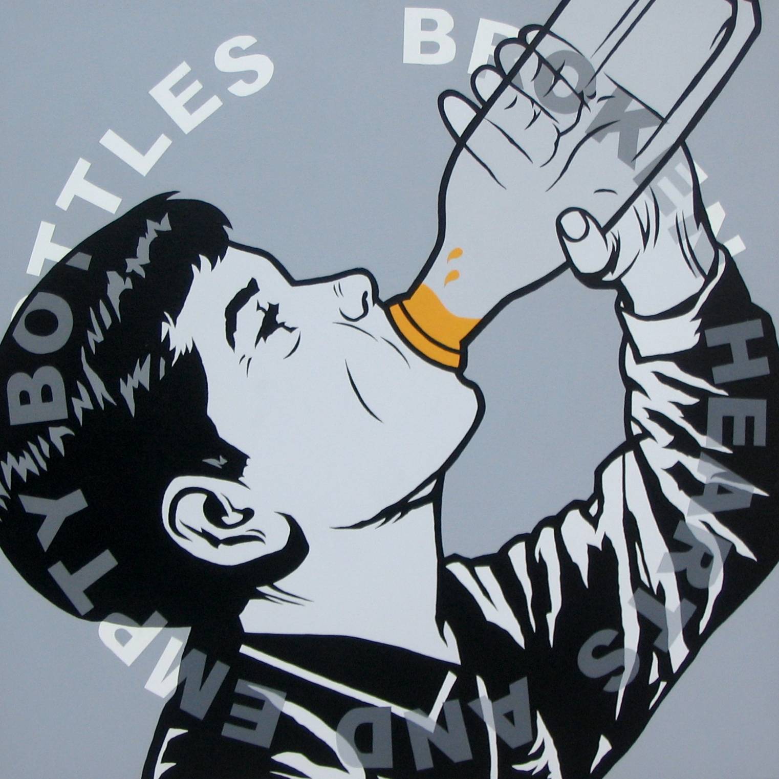 """Broken hearts & empty bottles"" Acrylic on canvas, 24'x24"" (SOLD)"