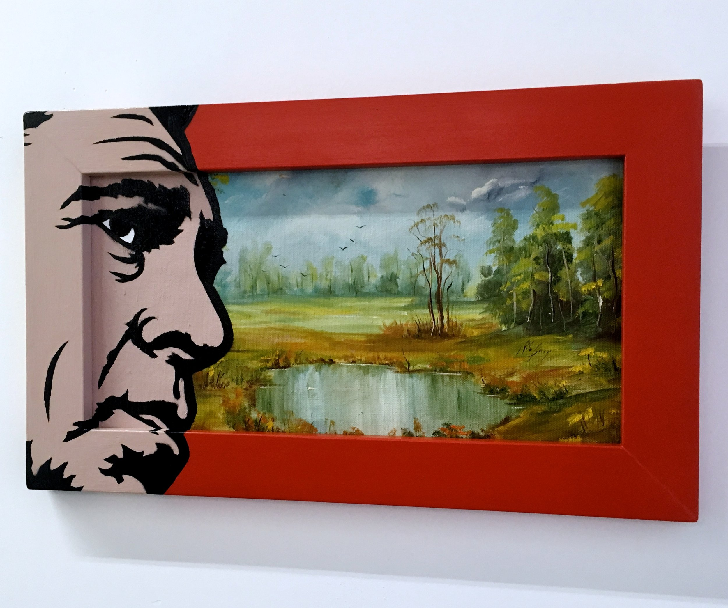 """At war with nature"" Acrylic & spray paint on found/vintage painting/frame."