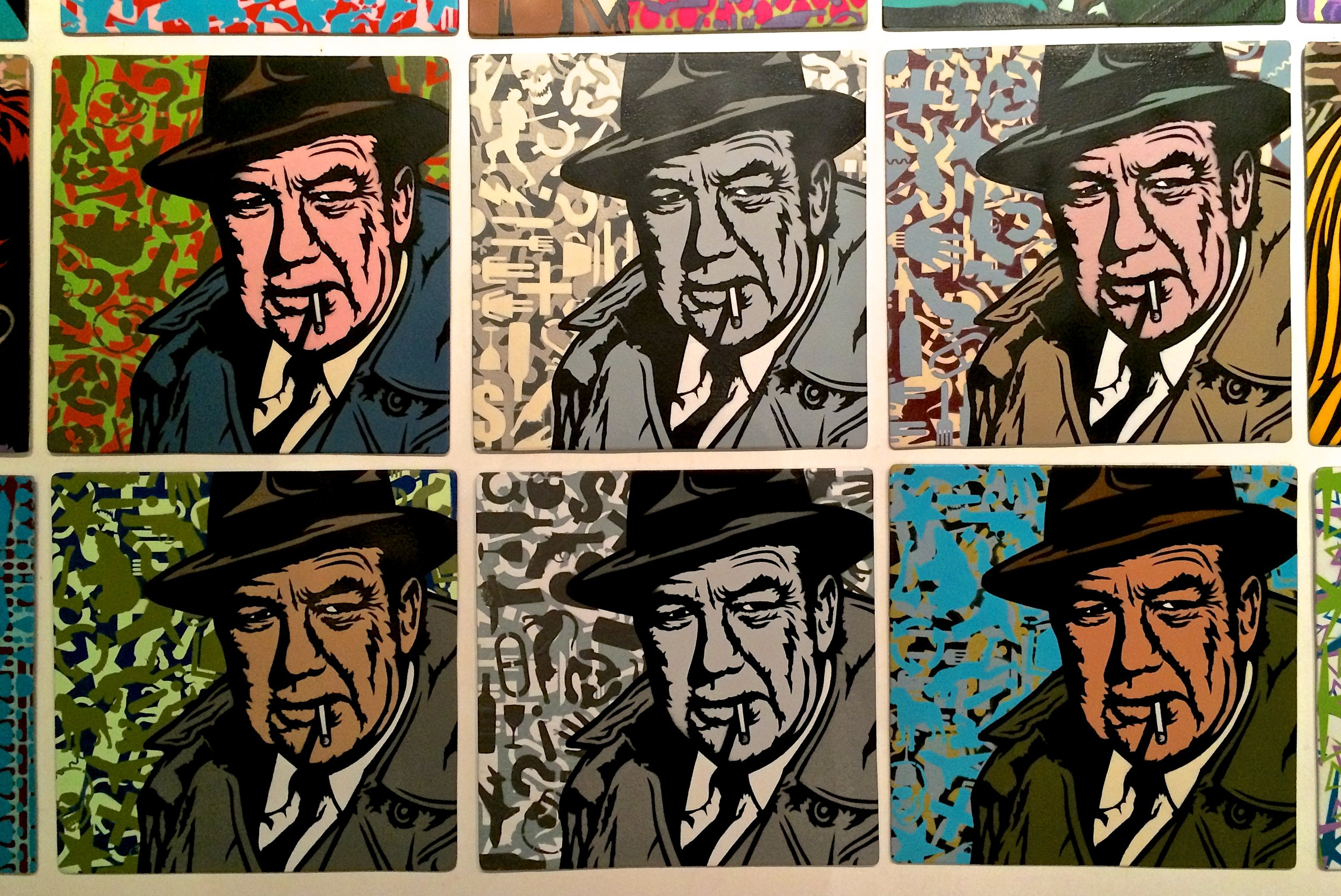 """""""Gumshoe"""" (Broderick Crawford) Spray paint/stencil on wood panel, 20""""x20"""" Edition of 6"""