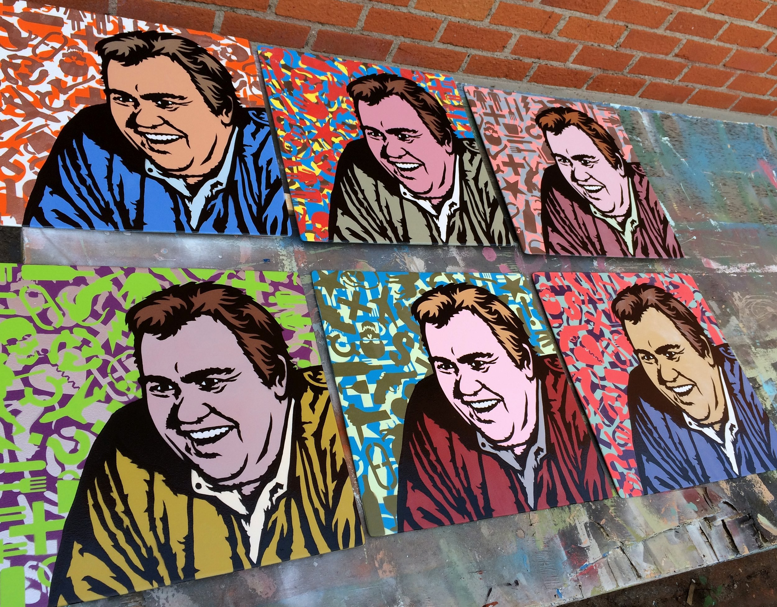 """""""John Candy"""" Spray paint/stencil on wood panel, 20""""x20"""" Edition of 6"""