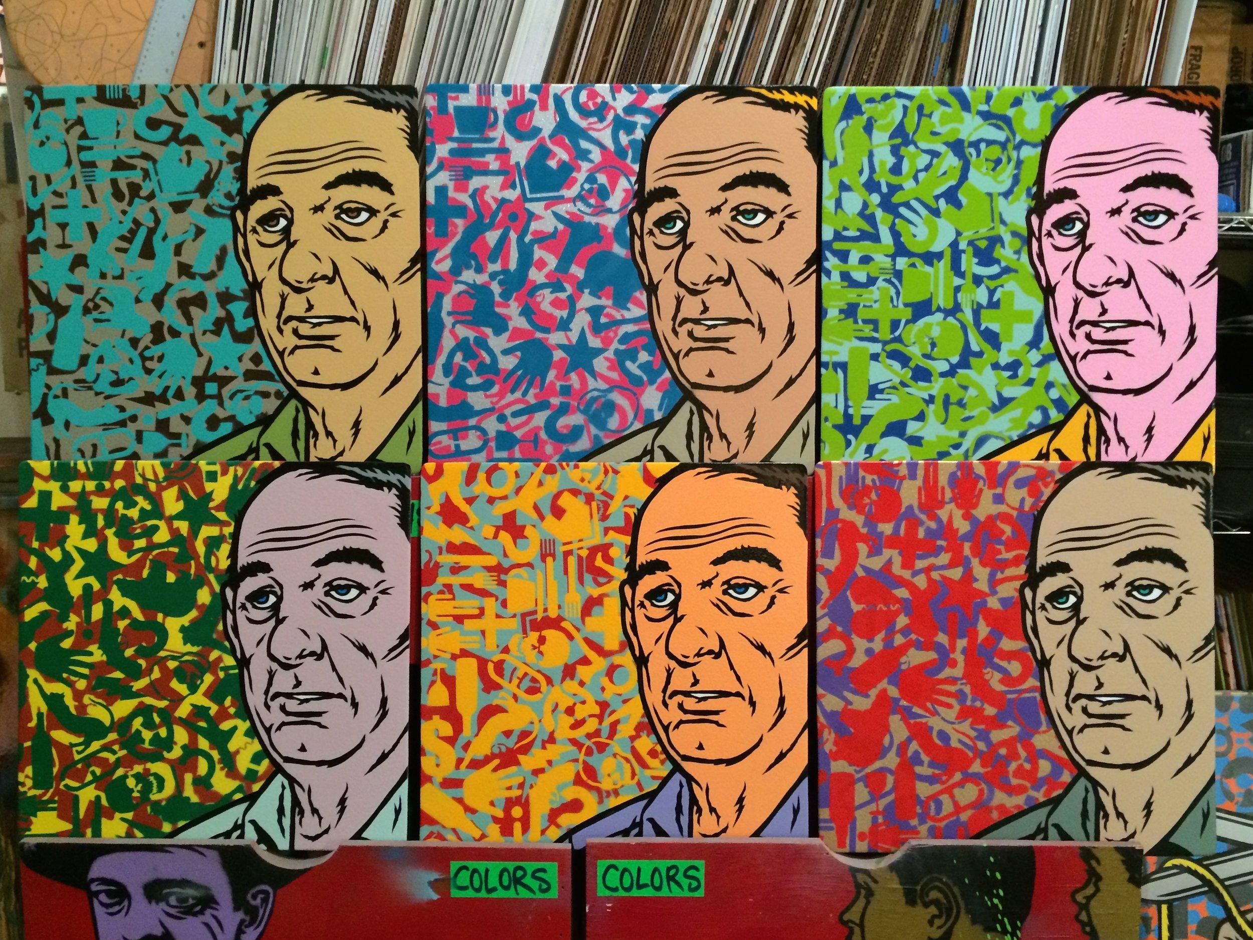 """Joe 6 Pack"" Spray paint/stencil on wood panel, 20""x20"" Edition of 6"