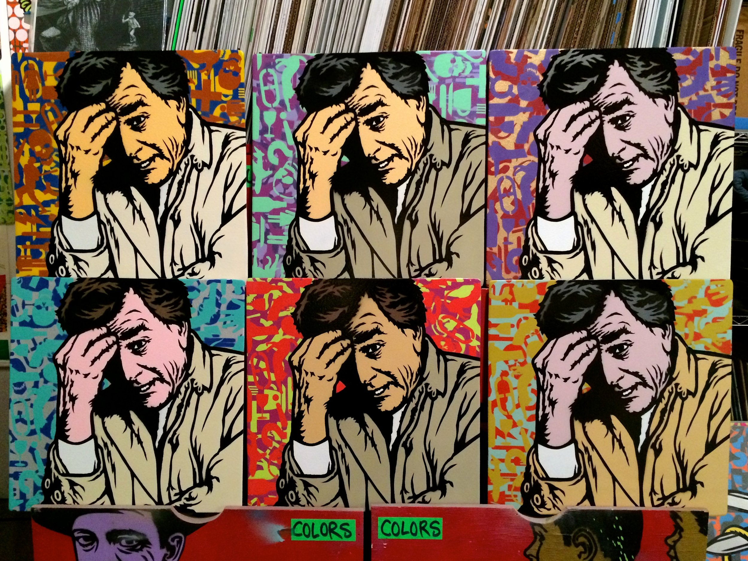 """""""One More Thing"""" (Columbo) Spray paint/stencil on wood panel, 20""""x20"""" Edition of 6"""