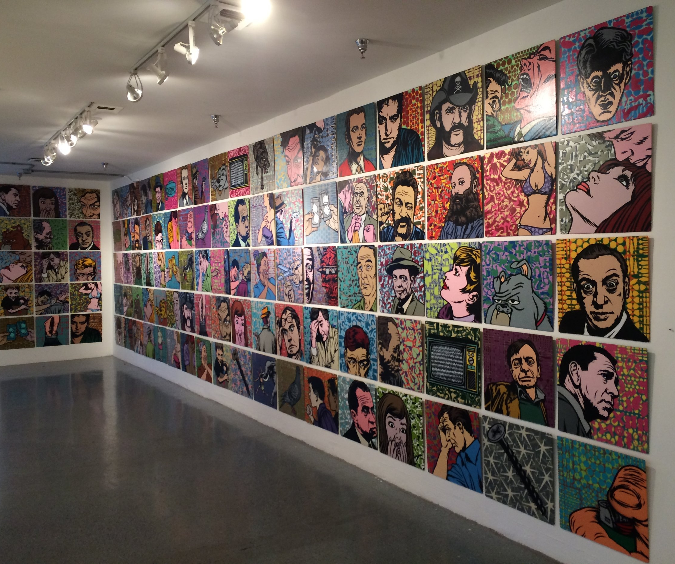 """Stencil paintings/installation for """"Mostly friends, sorta"""" show. Los Angeles, 2015"""