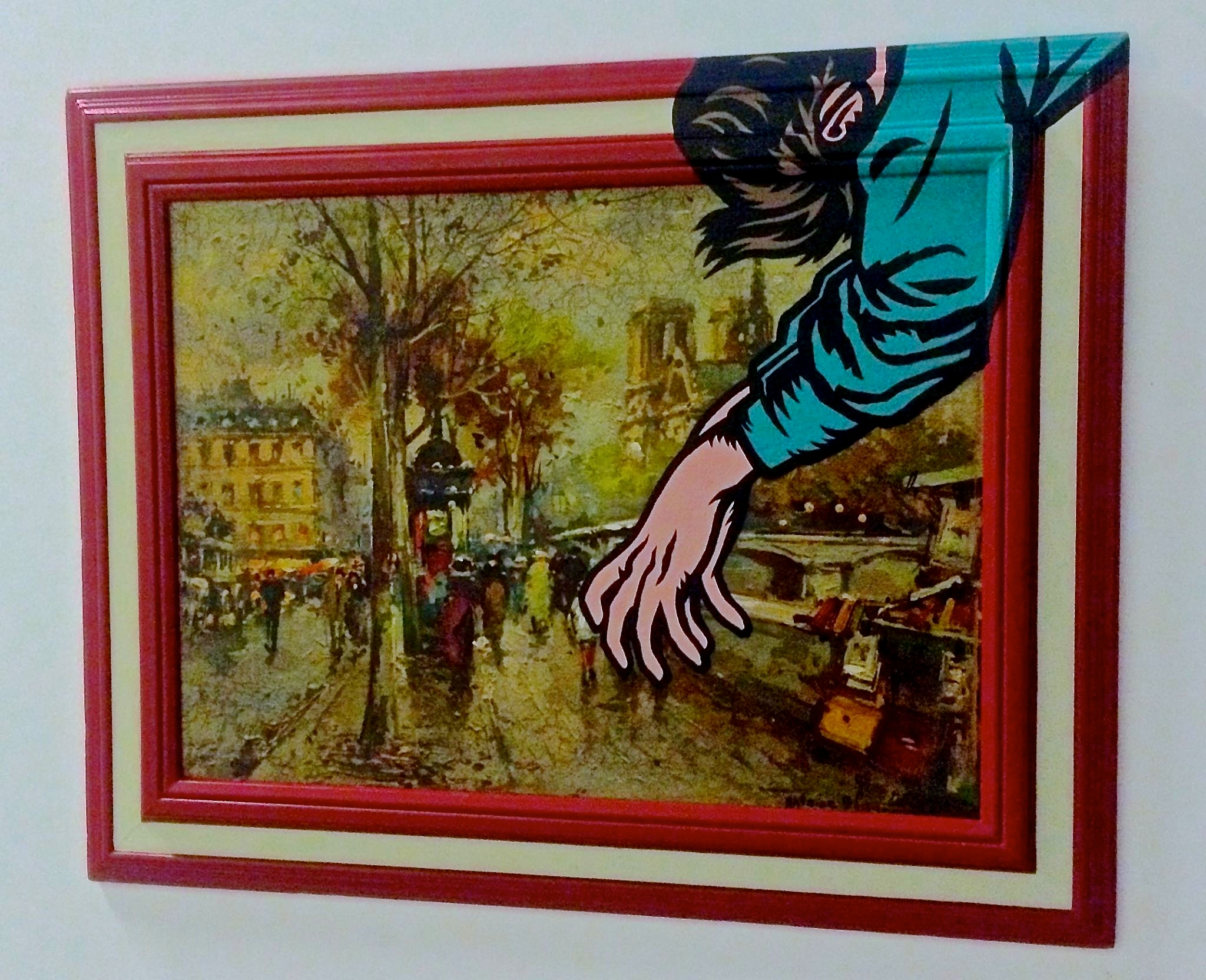 "Keep your travel stories to a minimum"" Acrylic & spray paint on found/vintage painting/frame."