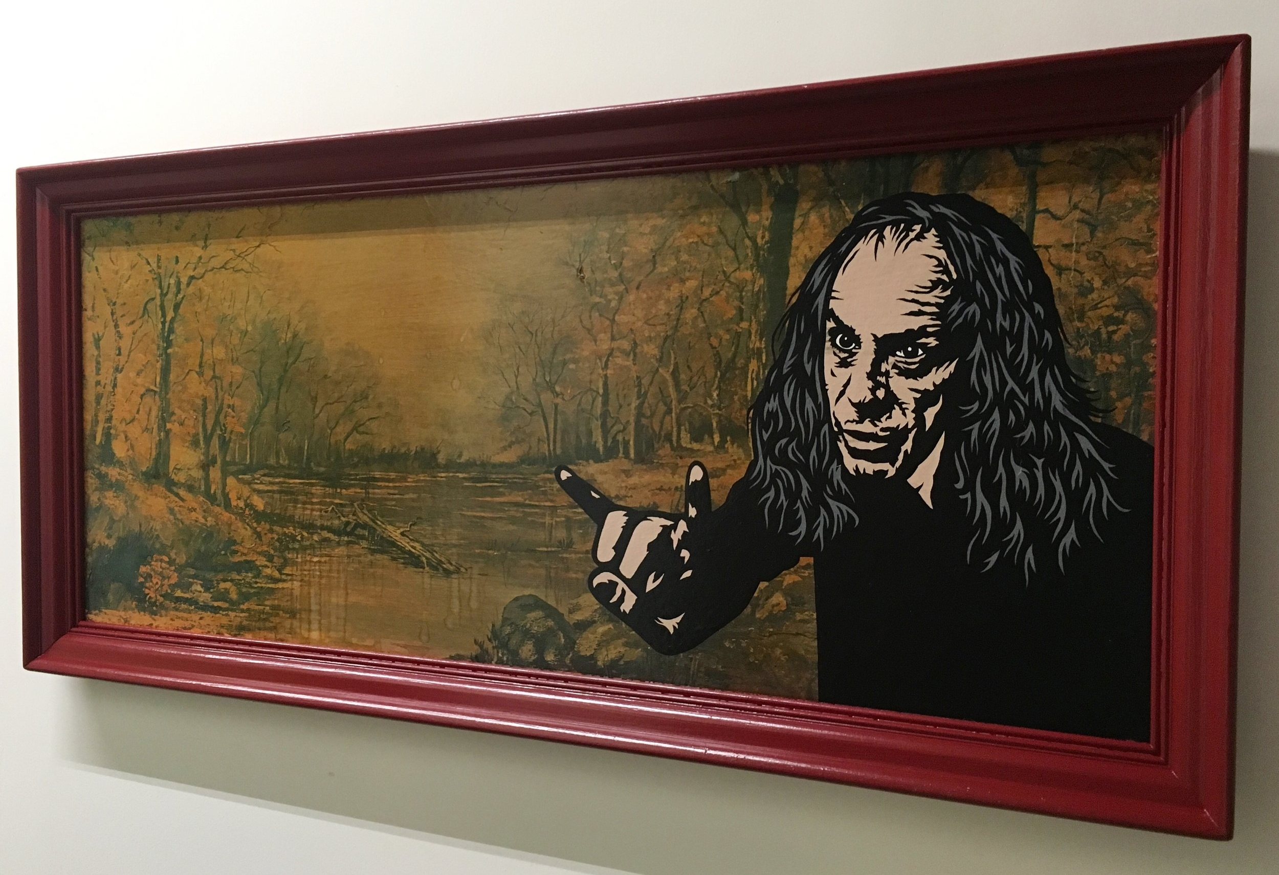 """Do your demons ever let you go?"" (Ronnie James Dio) Acrylic & spray paint on found/vintage painting/frame. 24""x52"""