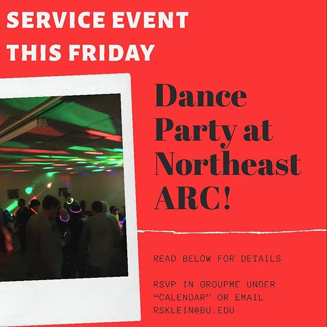 RUF at BU is heading out to Danvers to have fun at a dance with NortheastArc! We get to go party with this organization's clients who are people with social, emotional, and intellectual disabilities.  Dress code is nice casual, jeans and a nice shirt or something along those lines is recommended, after all it's a fun night of dancing! Bring money for a CHANCE OF A Chick-fil-a stop after the dance, this is not confirmed.  Please meet at Marsh Plaza at 5:15, try to be no later than 5:20 due to traffic concerns, and RSVP in groupme or email rsklein@bu.edu!