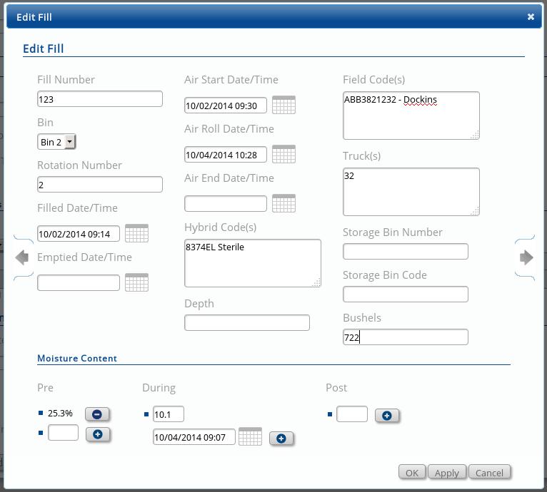 Fill information data entry screen