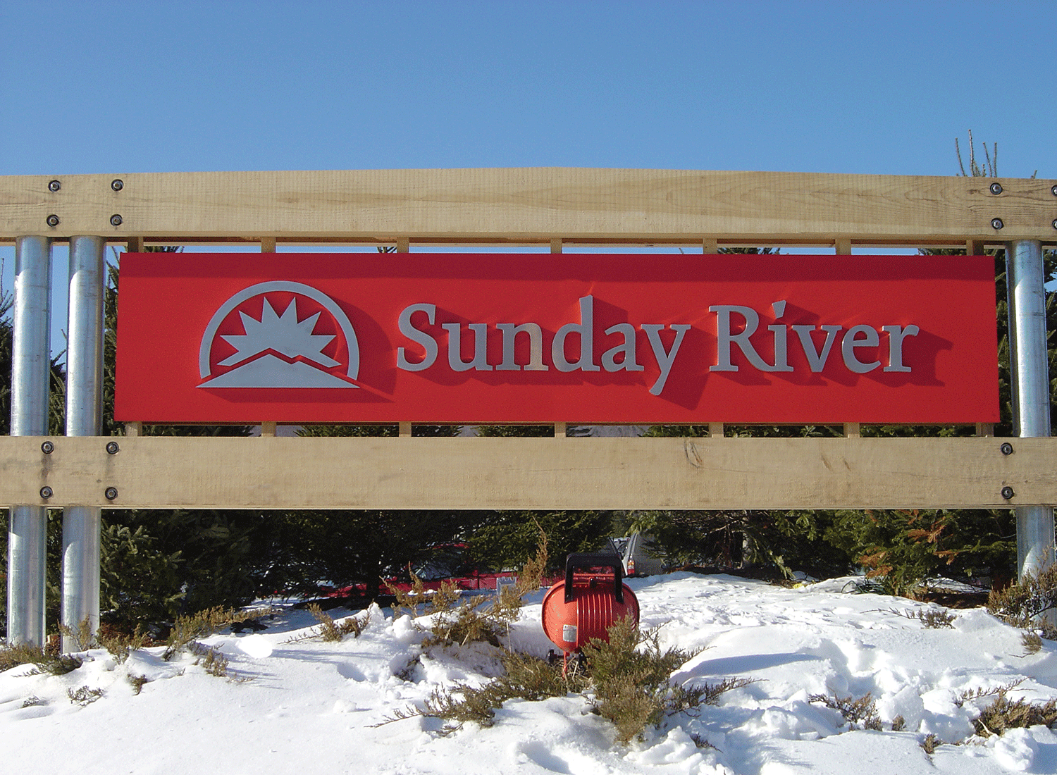 Sunday River Sign, Metal Letters