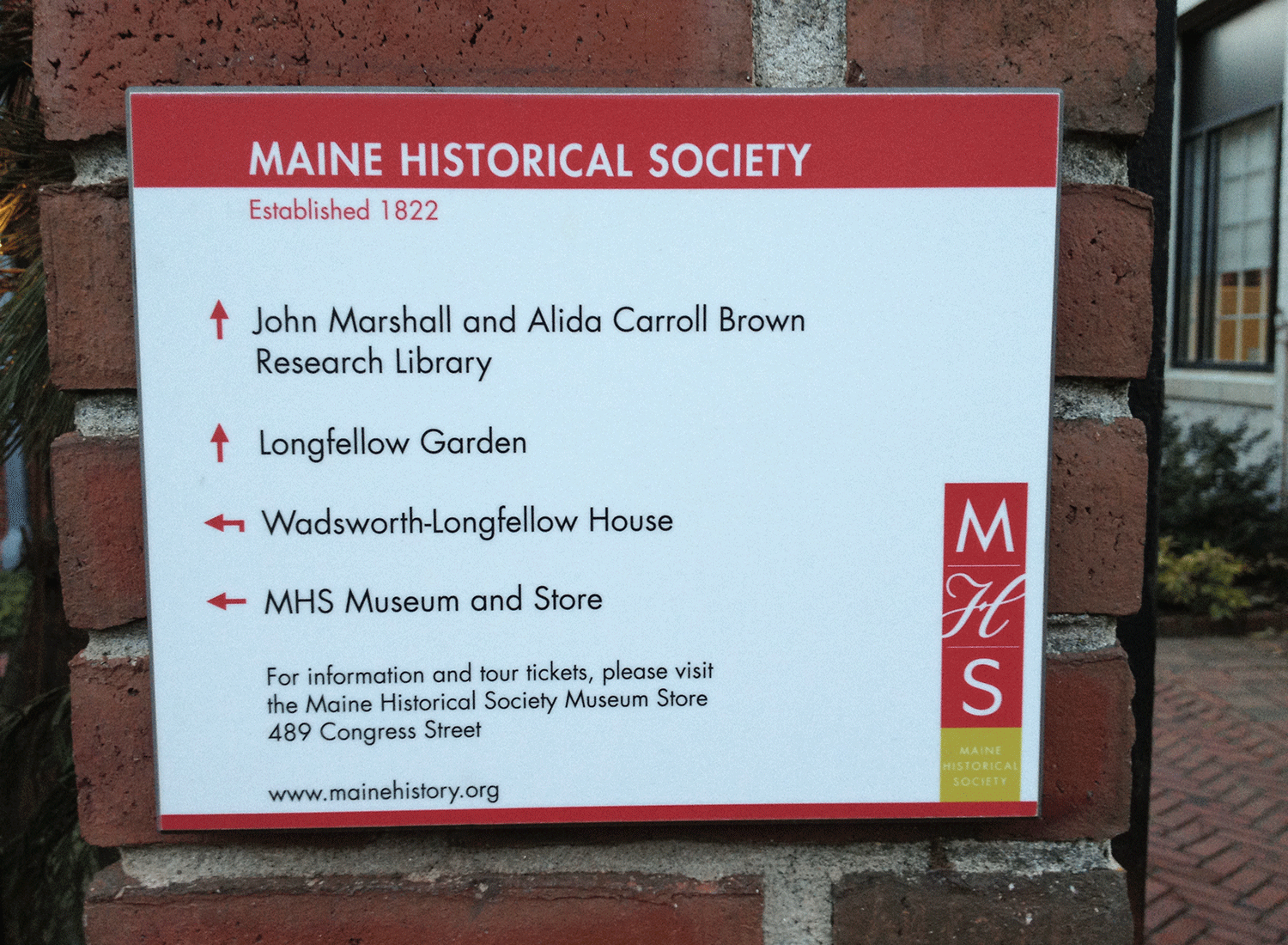 Maine Historical Society, Wayfinding Sign