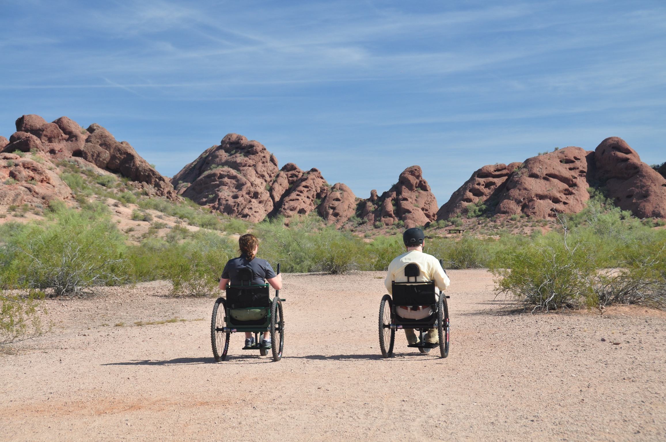 Riding in Papago Park with Steve, one of our Kickstarter backers and first riders.