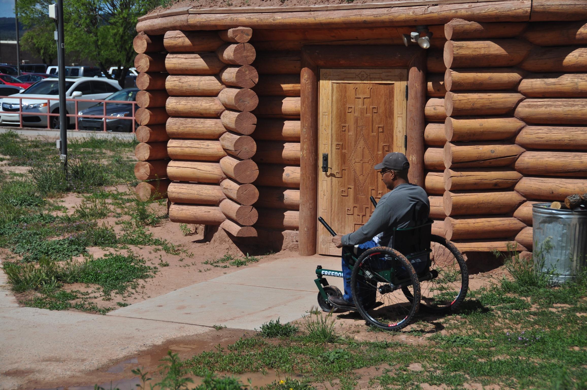 AJ, cruising around the Hogan on the Navajo Reservation.