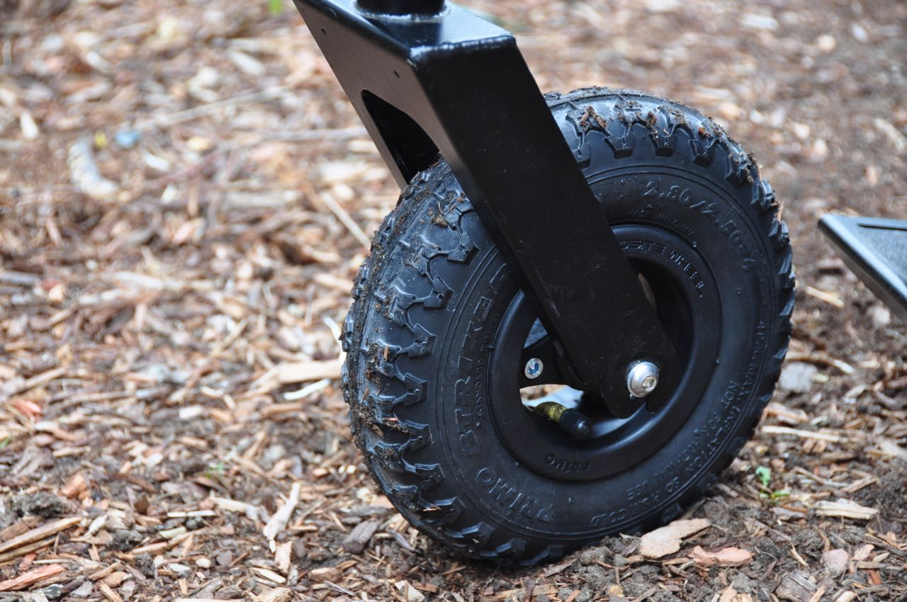 The new pneumatic front wheel included with the GRIT Freedom Chair 3.0 and available as an easy-to-install upgrade for older models of the chair.