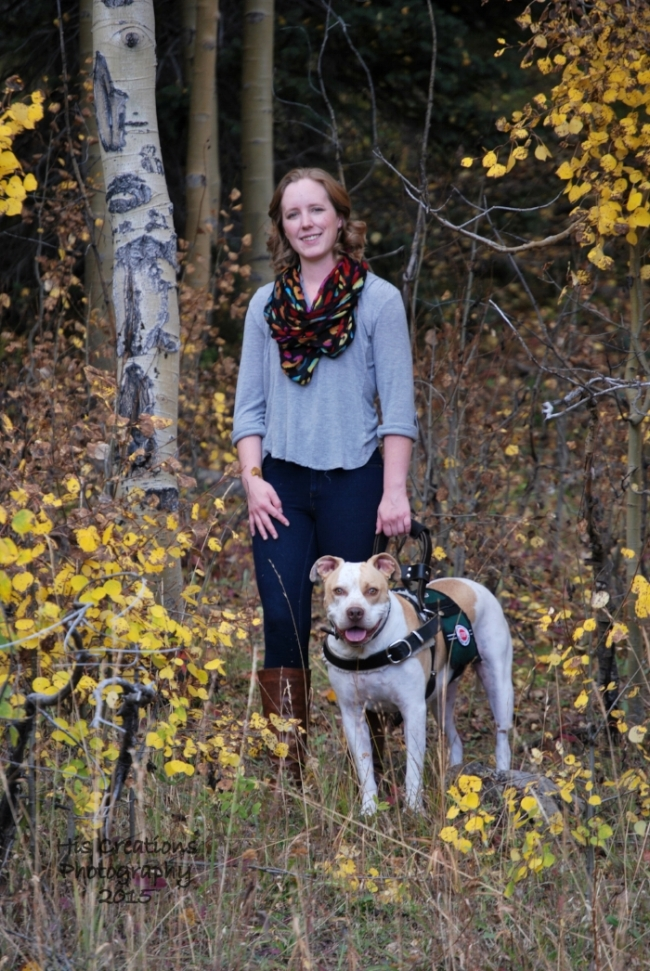 My Service Dog, Cash, and me in Grand Mesa National Forest in September 2015 (photo by His Creations Photography)