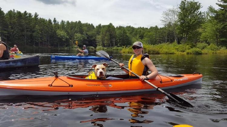 My Service Dog,  Cash , enjoys kayaking with me!