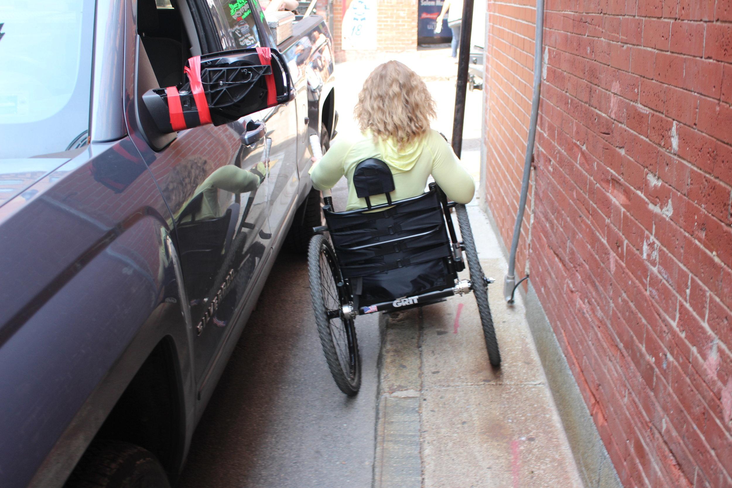 Ninja maneuvering my GRIT Freedom Chair through a narrow street near Old North Church.