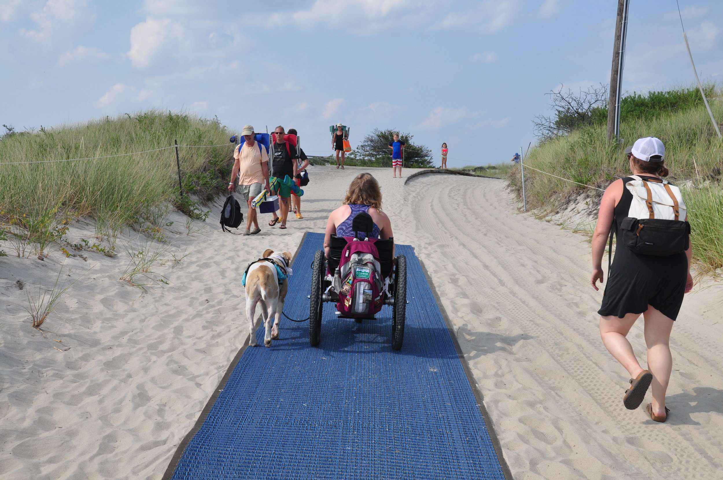 The access mat made going over the sand dune a lot easier.
