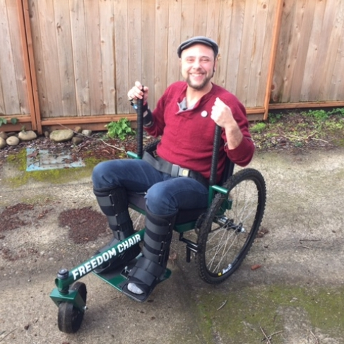 """Nico was struck by a car and dragged while riding his bicycle several years ago. With a combination of inadequate medical care and  Ehlers-Danlos Syndrome , his body hasn't been able to fully recover. Before his accident, the self-proclaimed """"outdoor junkie"""" would hike up to 15 miles per day as a wilderness guide.    """"The GRIT Freedom Chair [allows] me to go to the park down the street, a place that was previously not accessible to me. The chair really embodies the idea that everyone should have access to the outdoors.""""     Read more about Nico"""