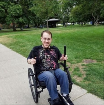 Brett out testing his new GRIT Freedom Chair.