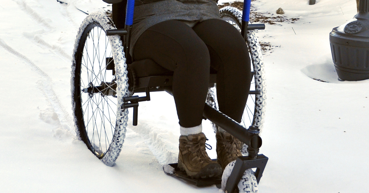All terrain wheelchairs such as the    GRIT Freedom Chair    are easier to maneuver over all types of conditions.