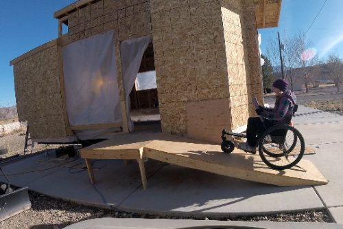 Our temporary/working ramp into our house is almost 3 times a steep as ADA standard. The climb hurts my shoulders in my regular wheelchair, but is no problem in the GRIT Freedom Chair.