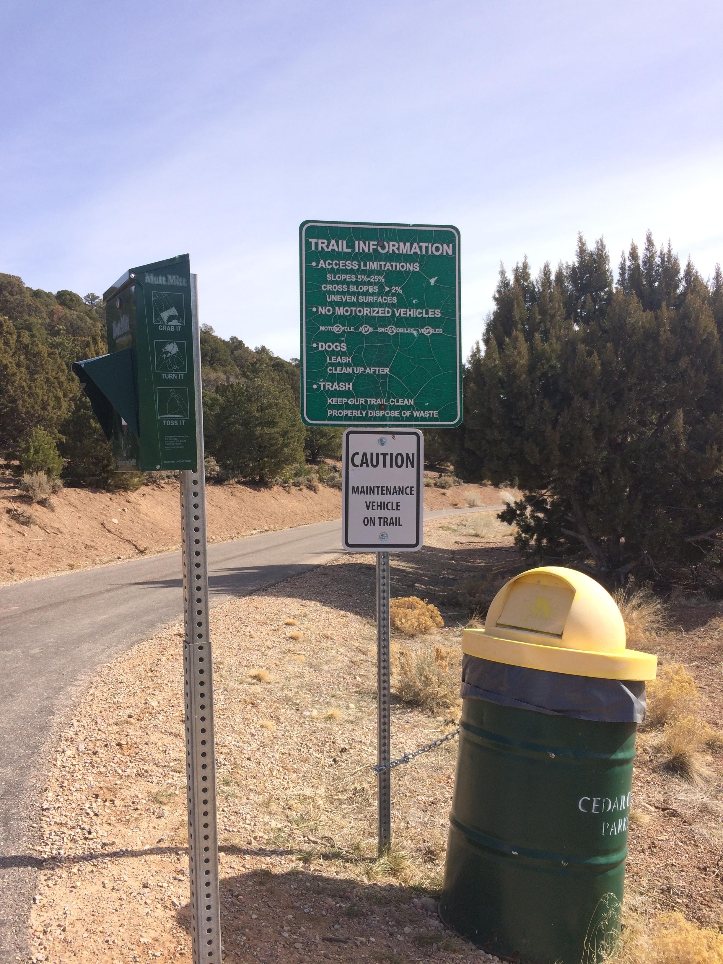 West Trail Head waste bag station