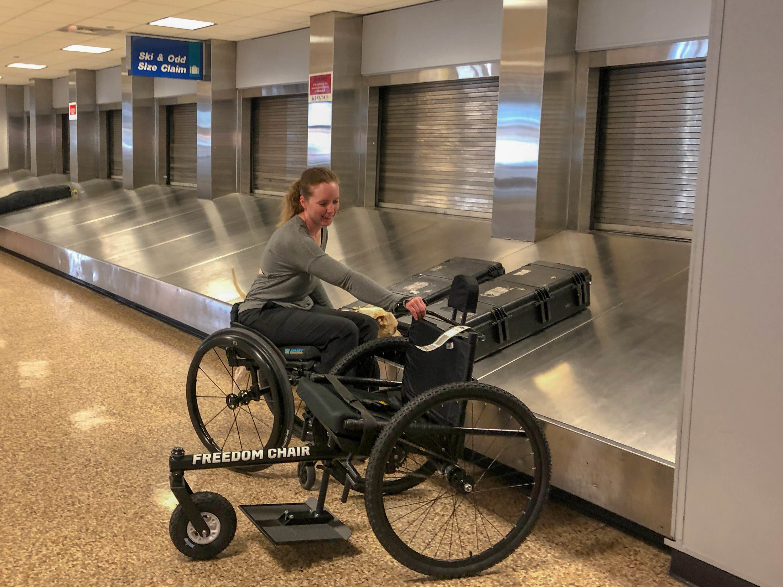 At most airports, your checked GRIT Freedom Chair will arrive in the Odd Size Claim area.