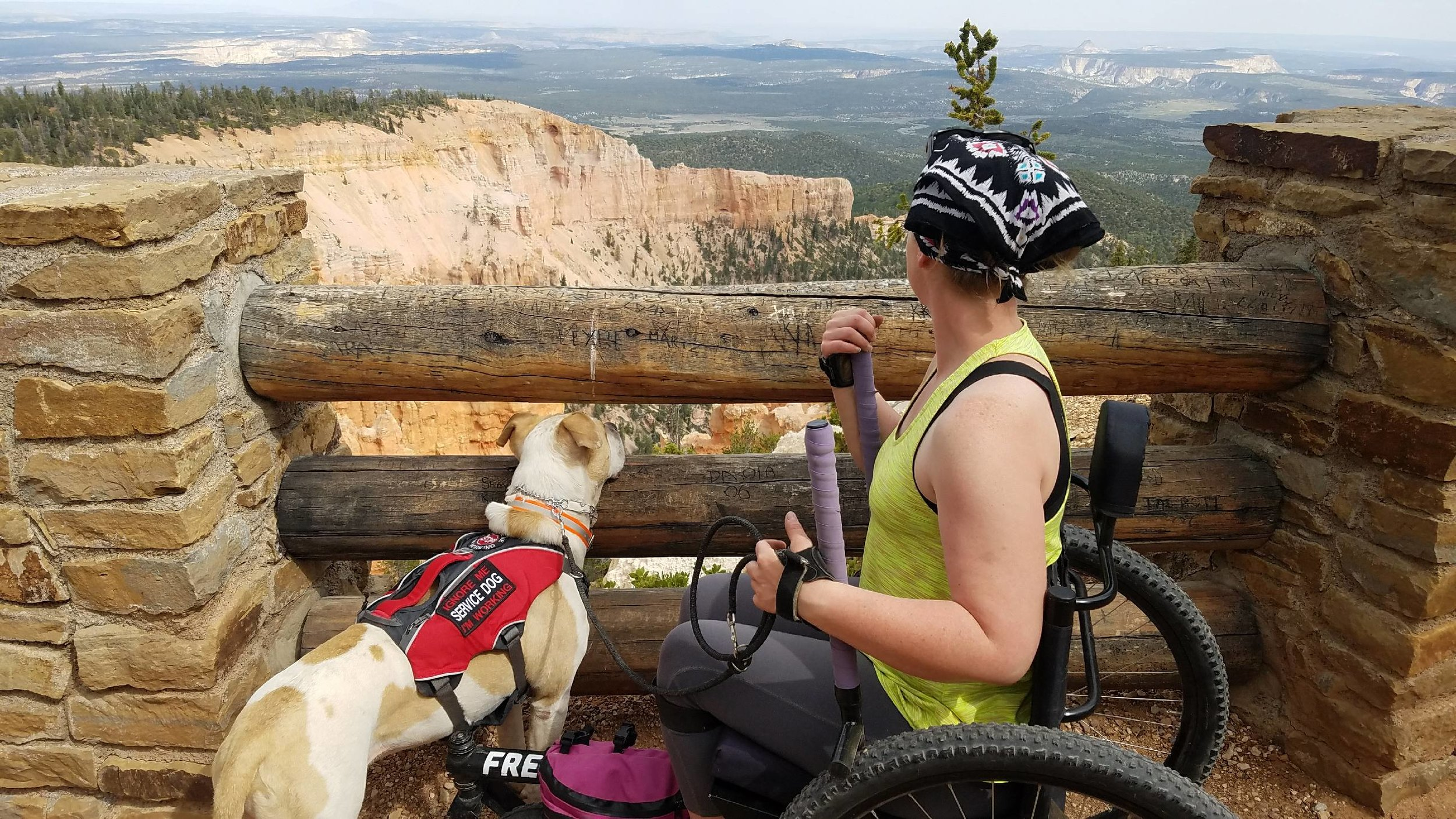 Nerissa Cannon hiking  Bristlecone Loop  using her  GRIT Freedom Chair  at Bryce Canyon National Park