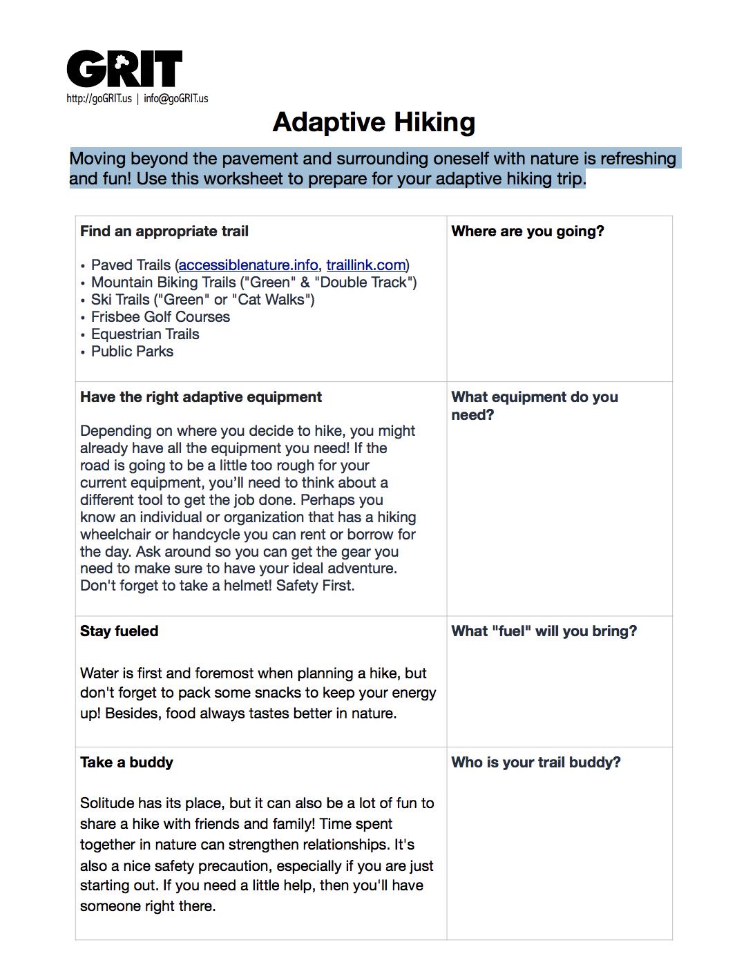 Adaptive Hiking Checklist