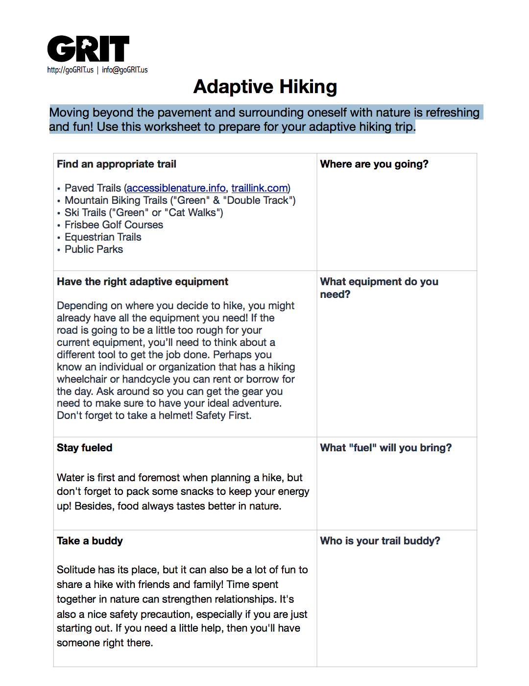 GRIT Adaptive Hiking Checklist